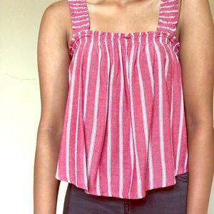 Hollister red and white striped top